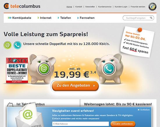 Internet-Anschluss-Websites